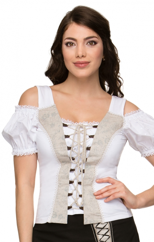 Trachten Shirt Carmenstil May2 weiss